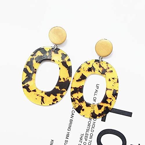 DFDLNL Pendientes Pendientes ovalados de Vacaciones Pendientes Colgantes Bohemios Simples Pendientes de acrílico Femeninos 2