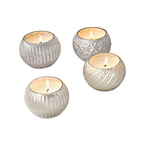 Loberon Windlicht mit Kerze 4er Set Cellrar, Glas, H/Øca. 7.5/6 cm, Silber