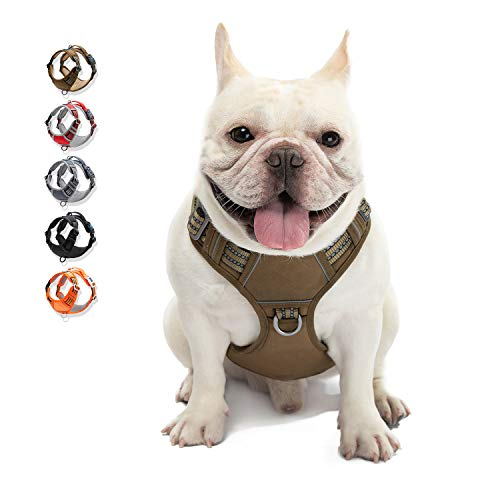 Dog Harness No Pull Reflective, WALKTOFINE Comfortable Harness with Handle,Fully Adjustable Pet Leash Vest for Small Medium Large Dog Breed Car Seat Harness Army Yellow M
