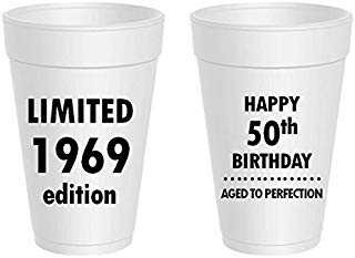 Mandeville Party Company, 10 count styrofoam cups, Happy 50th Birthday - Limited 1969 Edition, Aged to Perfection
