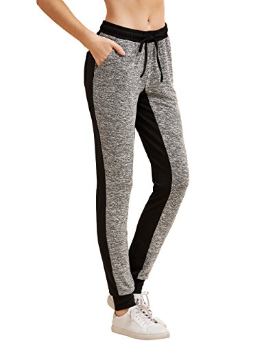 SweatyRocks Women's Drawstring Waist Long Workout Yoga Active Pant with Pocket Grey X-Small