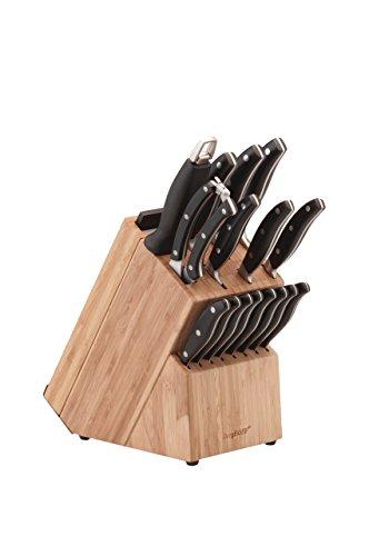 Berghoff 1320014 Bloc Couteaux Forgés 20 Pièces, Acier Inoxydable, Bois, Noir, 28 x 13,5 x 36 cm