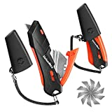 ValueMax 2-Pack Box Cutter Knife, Self-Retracting 3-Position Locking Blade, Safety Sheath, Lanyard, Extra Blades Included