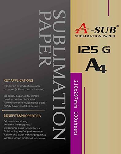 A-SUB Sublimationpapier für Epson Me Series, Ricoh GX Serie und Sawgrass Drucker, DIN A4, 100 Blatt