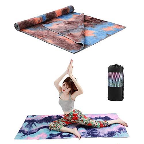 Lumanby Toalla de yoga Manta de yoga Tie-dye manta de yoga impresa drapeado antideslizante Yoga Mat Yoga Yoga Yoga Cojín 72 x 24 pulgadas
