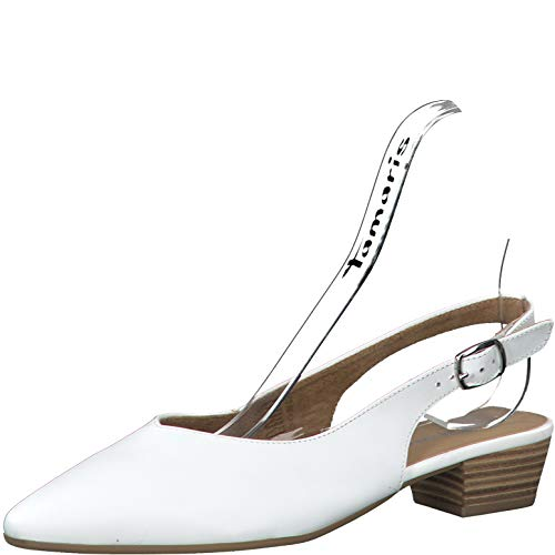 Tamaris Damen Pumps 29405-24, Frauen Sling-Pumps, büro-Pumps bequem elegant weibliche Lady Ladies feminin,White Leather,41 EU / 7.5 UK