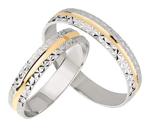 Ardeo Aurum Trauringe Damenring und Herrenring aus 375 Gold bicolor Gelbgold Weißgold Eheringe Paarpreis