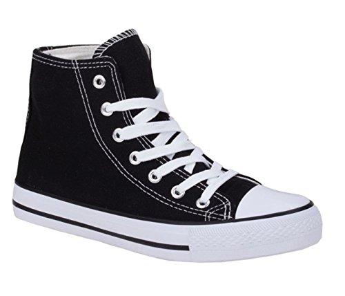 JUMEX Neu Damen Sneakers Freizeit Turnschuhe High Top Schuhe (38, Schwarz)