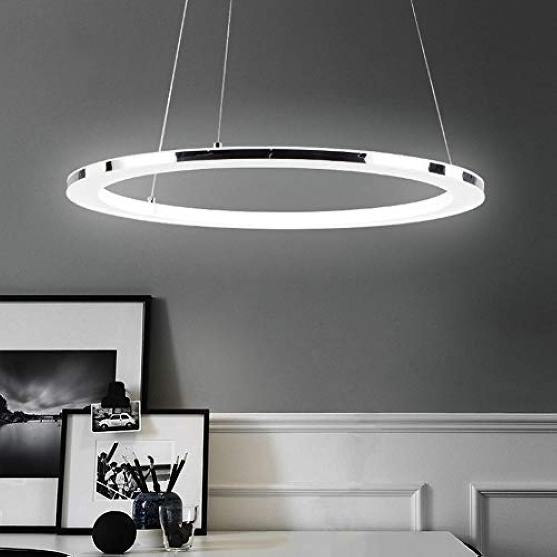 Hngeleuchte LED Kreativ Pendelleuchte Modern Optik Eleganter Ring rostfreier Stahl Acryl Für Restaurant Wohnzimmer Warmes Licht 50CM 30W 2100LM[Energieklasse A++]