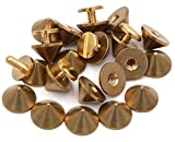 Okones Pack of 30,3/8''Diameter,1/4''Tall,Solid Brass Tree Spike Studs and Spikes Metalic Screw Rivets Nails Button for Leathercraft Punk DIY (3/8''×1/4''Tall Spikes)
