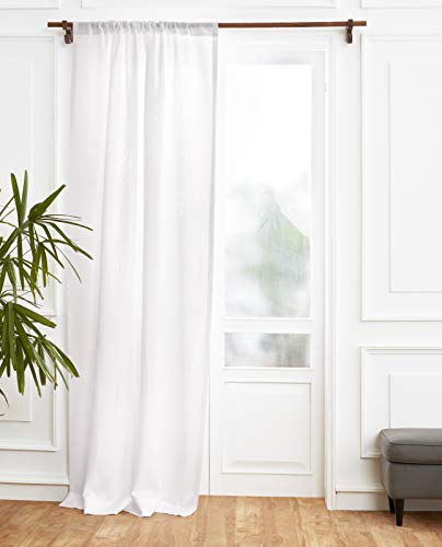 Solino Home 100% Pure Linen Curtain – 52 x 84 Inch White Lightweight Rod Pocket Window Panel – Handcrafted from European Flax