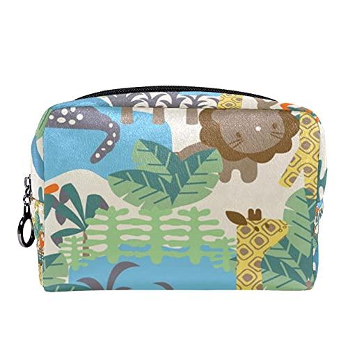 Trousse de Maquillage Voyage Maquillage Case Cosmetic Case Professional Portable Arbre de Lion de Girafe d'éléphant Animal Organisateur et Rangement pour Porte-pinceaux de Maquillage