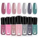Modelones Gel Nail Polish Set, Dark-Pink Cream Grey Green 7 Colors 6ML Gift Box LED Soak Off Nail Gel Manicure Kit