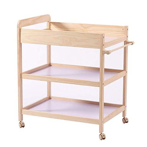 BBNBY baby veranderen tafel dressoir verpleegstation met Casters draagbare bad Organizer voor baby verplaatsen hout opslag- natuurlijke (Maat: 80x58x100cm)