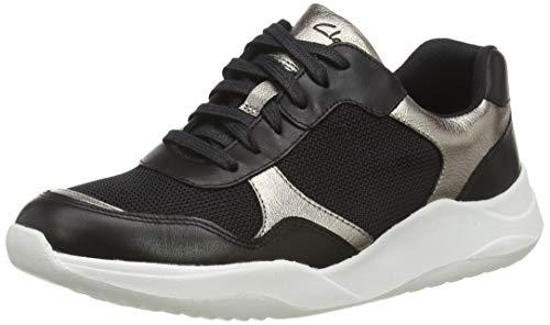 Clarks Damen Sift Lace Sneaker, Schwarz (Black Combi Black Combi), 40 EU