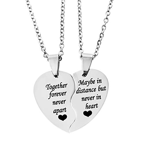 MJartoria BFF Necklace for 2-Split Valentine Heart Necklace Together Forever Never Apart Best Friends Pendant Friendship Necklace Set of 2 Gifts for Her(Distance-Silver)