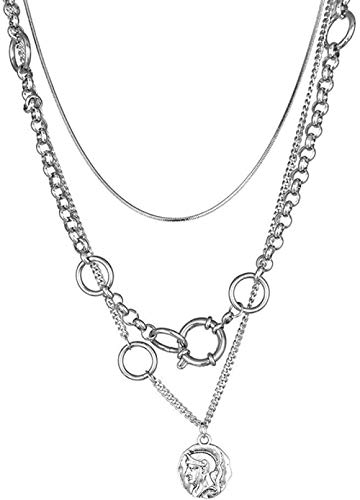 Yaoliangliang Collar de Cadena en Capas Collar de Pila Anillo Colgante Femenino Cadena de clavícula