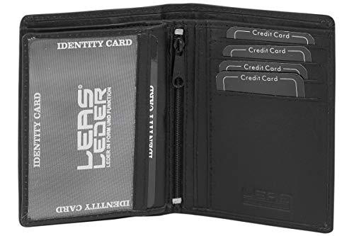 Leas Mcl Biker portefeuille porte-cartes pour pi/èce didentit/é et porte-cartes avec la cha/îne cuir v/éritable noir LEAS Chain-Series