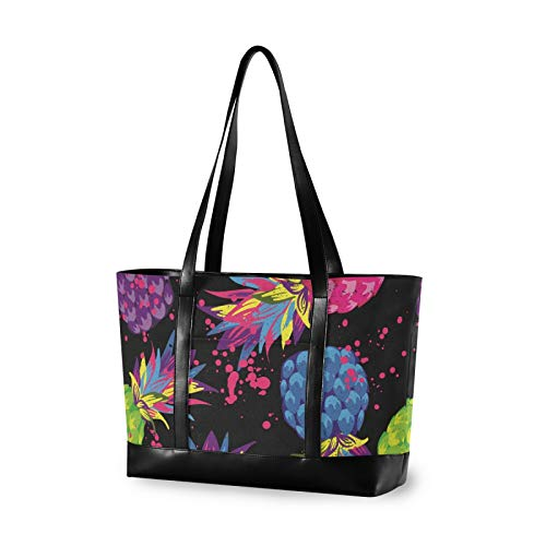 Large Woman Laptop Tote Bag - Tropical Fruit Summer Pineapple Canvas Shoulder Tote Bag Fit 15.6 Inch Computer Ladies Briefcase for Work School Travel