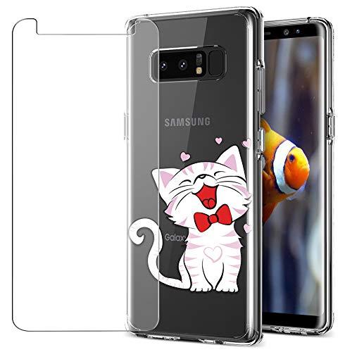 MadBee Funda para Samsung Galaxy Note 8 [con Protector Pantalla],Transparente Carcasa Silicona Ultra Fina Suave TPU Gel Bumper Case Protección con Dibujos Shell Cover (Gato 3)