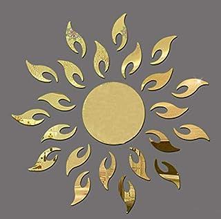 60x60cm mirror acrylic sun flower mirror effect ring wall stickers design 3d interior home decoration -XX
