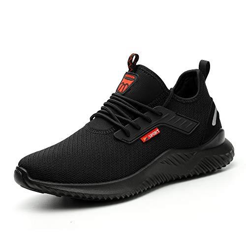 Ulogu Sicherheitsschuhe Herren Arbeitsschuhe Damen Leicht Atmungsaktiv Schutzschuhe Stahlkappe Sneaker Wanderschuhe 46 EU Schwarz#8
