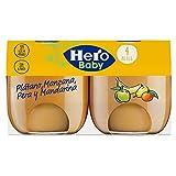 Hero Baby Natur Tarritos de Puré de Platano Mandarina Pera Williams para Bebés a partir de 4 meses Pack de 6u de 2 x 120 g