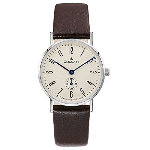 Dugena Damen Quarz-Armbanduhr, Saphirglas, Lederarmband, Mondo, Braun/Silber, 4460663