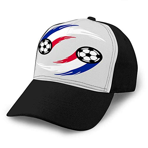 Mxung Hut Baumwolle Baseballkappe Plain Cap Verstellbare Kappe Fußball oder Fußball mit Feuerschwanz in Frankreich Flagge Classic Baseball Cap