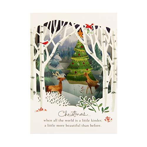 Pop-Up 3D Christmas Card from Hallmark - Paper Wonder Woodland Scene Design