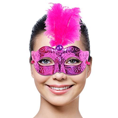Folat vénitien et Plumes Masque de fête (Taille Unique, Magenta)