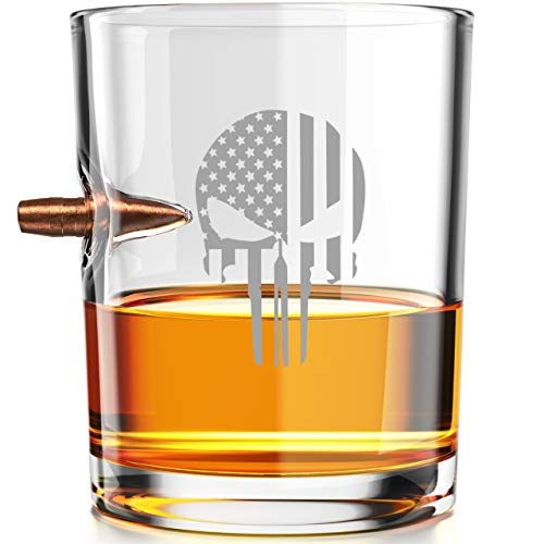 Punisher Flag - .308 Real Solid Copper Projectile Hand Blown Old Fashioned Whiskey Rocks Glass