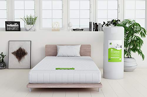 Double Mattress 4ft 6 135x190 20cm Deep UK Size 190cm 135cm Medium Reflex Foam & Memory Foam plus Coil Springs plus Quality Quilted Cover Made in Britain 4 FT6 Foot White 4ft6 (ONLY MATTRESS)