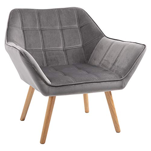 HOMCOM Armchair Accent Chair Wide Arms Slanted Back Padding Iron Frame Wooden Legs Home Bedroom Furniture Seating Grey