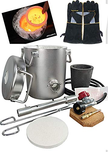 0-28LBS(12.8KGS) Gas Propane Melting Furnace Kit, Stainless Steel 304,Up to 2700°F 1425°C,CRUCIBLE, Leather gloves,TONGS Kiln,Melt Gold,Silver,Copper,Aluminum,Metal melting Furnace,Jewelry Casting