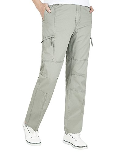 OCHENTA Men's Pull On Cargo Pants Full Elastic Waist Lightweight Workwear #08 Khaki Tag 3XL - US 38