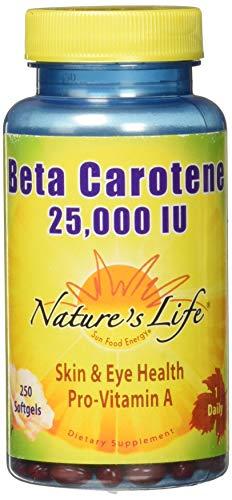 Nature's Life Beta Carotene Softgels, 25,000 IU, 250 Count
