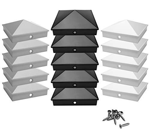 Pfostenkappen 9x9 cm aus hochwertigem Aluminiumguss | 5er / 10er Pack pulverbeschichtet in 3 Farben | Rostfrei | mit Edelstahl-Schrauben | Pyramide | Abdeckkappe/Zierkappe | (5, Schwarz)