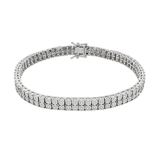 OMEGA JEWELLERY 7' Sterling Silver Round Diamond Double Row Tennis Bracelets for Women (0.40 Ct) Valentines Day