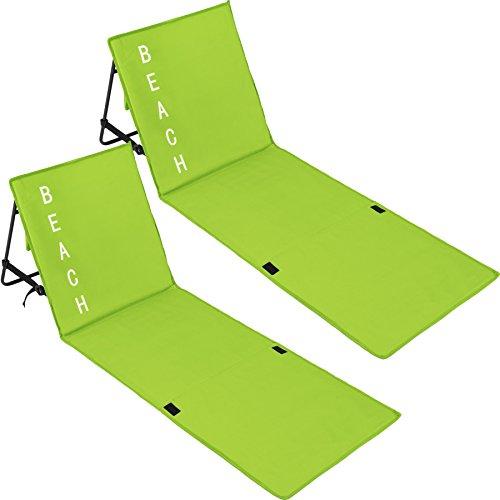 tectake 800584 2er Set Gepolsterte Strandmatte mit Verstellbarer Rückenlehne und praktischem Tragegurt (Grün | Nr. 402988)