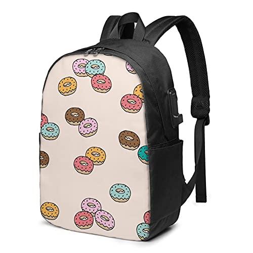 BYTKMFD Mochila de viaje con patrón de donuts para ordenador portátil, para hombre y mujer, extra grande, antirrobo, mochila escolar con puerto de carga USB de 17 pulgadas, Negro, Talla única