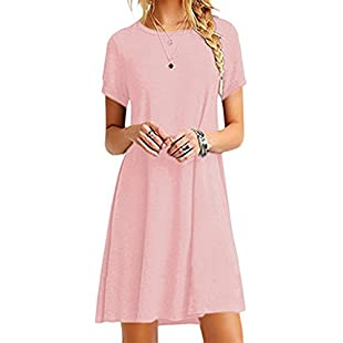OMZIN Women Short Sleeve Blouse Layered Scoop Neck Tunic Loose Fit Dress Pink XS:Carsblog