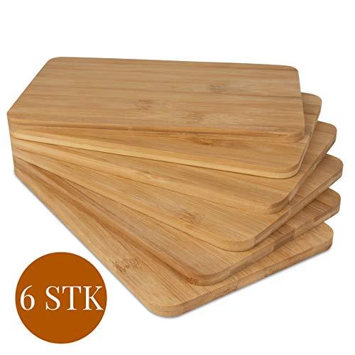 bonsport 6er-Set Schneidebretter - 6 Brettchen Frühstücksbrettchen aus Bambus Holz, 22 x 14 x 0,8 cm
