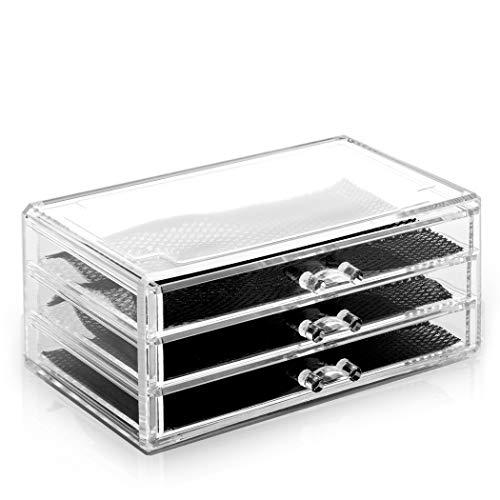 BINO 5 Drawer Acrylic Jewelry and Makeup Organizer, Clear Cosmetic Organizer Vanity Storage Display Box Make Up Organizers And Storage Makeup Stand (3 Drawer - Short)