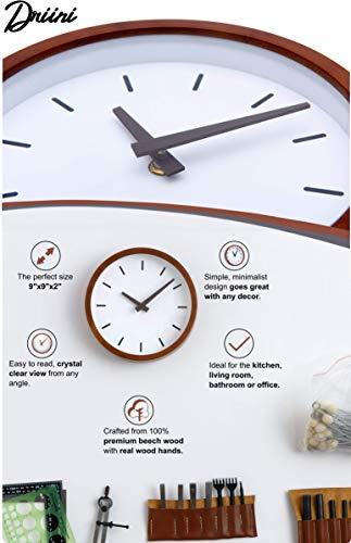 Driini Modern Mid Century Wood Analog Wall Clock (9