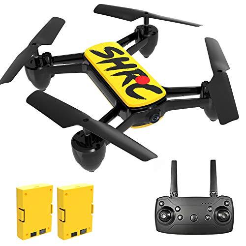 Rolytoy VraiJouet Drone con Telecamera 4K, FPV Quadricottero con Due Batteria 16-20 Minuti Volo, Mantenere l'Altudine, modalità Senza Testa, Drone RC per Principianti Bambini e Adulti (Giallo)