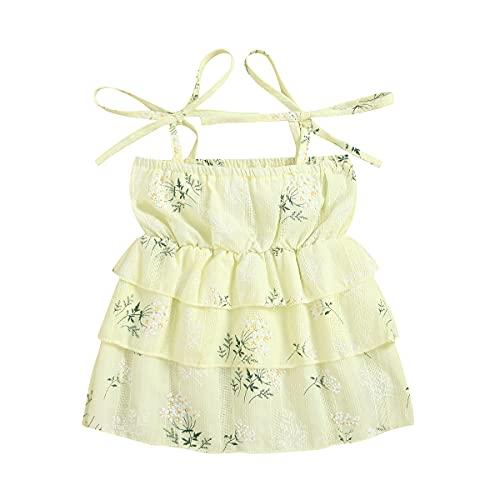 Vestido de verano para niña y niña, con cordones florales y correa de espagueti, sin mangas, con capas, con tirantes de princesa