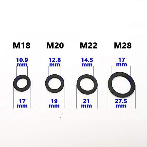 Wgd Jietou 10PCS M18 M20 M22 M28 Außengewinde Innengewinde Belüfter Dichtung Gummiring Eine Hermetische Dichtung Dicke 2,5 Mm (Color : 2.5mm, Size : M20 Black)