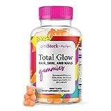 Pink Stork Total Glow: Berry Flavored Hair Skin and Nails Gummies with Biotin, Folate, Zinc, Vitamin B6, Vitamin A,...