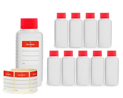 Octopus 10 x 100 ml Kunststoffflaschen, HDPE Plastikflaschen mit roten Schraubverschlüssen, Leerflaschen mit roten Schraubdeckeln, Vierkantflaschen inkl. 10 Beschriftungsetiketten